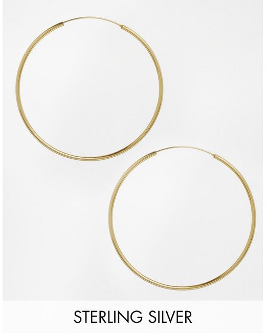 ASOS | Metallic Gold Plated Sterling Silver 60mm Hoop Earrings | Lyst