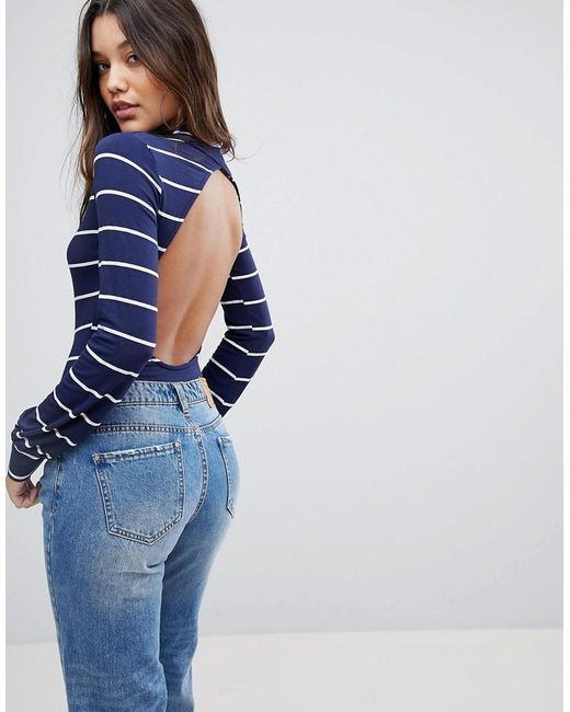 PRETTYLITTLETHING - Blue High Neck Open Back Body - Lyst