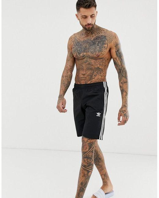 91a4bc895e Adidas Originals - 3 Stripe Swimming Trunks Black Cw1305 for Men - Lyst ...