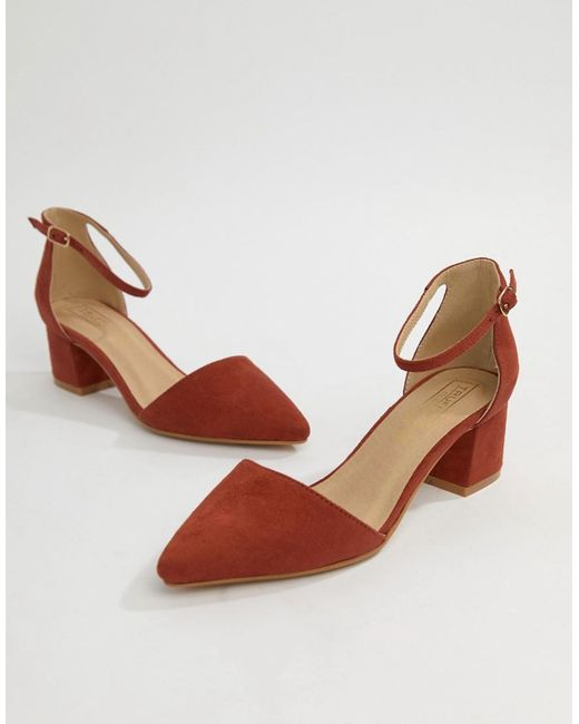 b6a0f38063c57 Truffle Collection Red Pointed Mid Heels Truffle Collection Red Pointed Mid  Heels