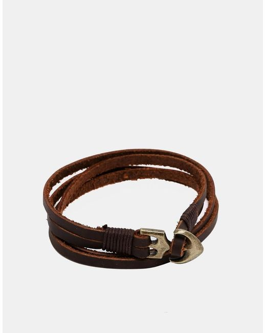 ASOS | Double Wrap Leather Bracelet With Anchor In Brown for Men | Lyst