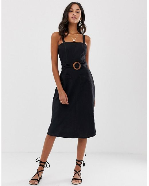 50a223ff2a0 ASOS - Black Square Neck Linen Midi Sundress With Wooden Buckle   Contrast  Stitch ...