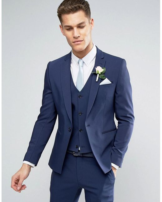 ASOS - Blue Asos Wedding Skinny Suit Jacket With Square Hem In Navy for Men - Lyst