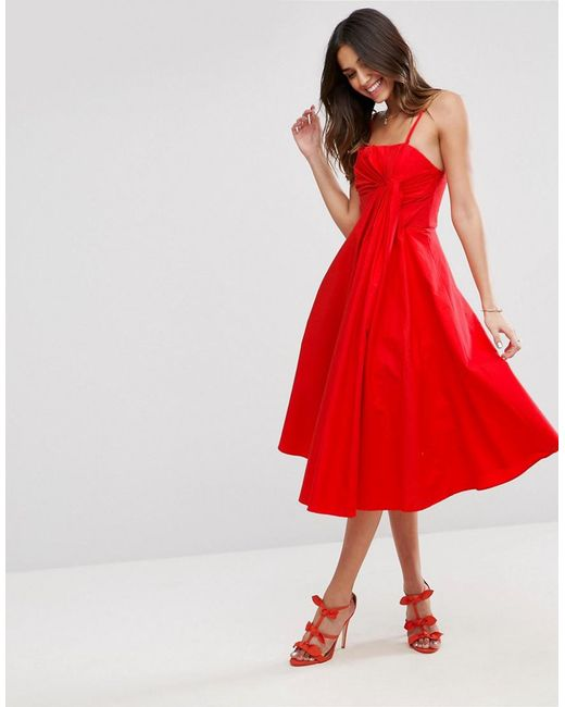 ASOS | Red Premium Extreme Fold Midi Prom Dress | Lyst