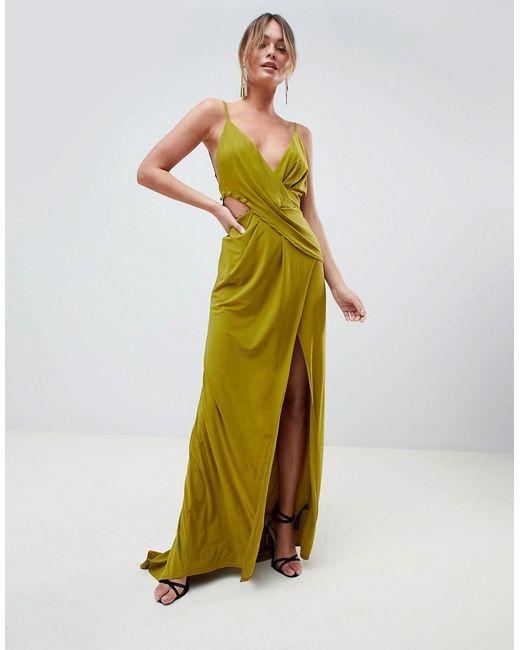 700275019c ASOS - Green Cami Drape Cut Out Button Side Maxi Dress - Lyst ...