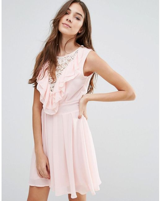 Wal-G | Pink Lace Insert Skater Dress With Ruffles | Lyst