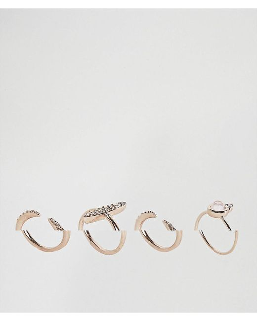 ASOS | Multicolor Pack Of 4 Fine Faux Opal Jewel Rings | Lyst