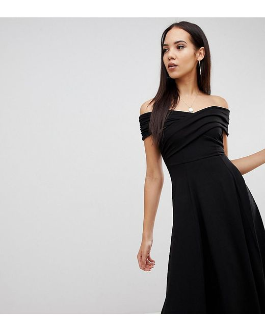 55ba74b157 ASOS - Black Asos Design Tall Bardot Midi Skater Dress - Lyst ...
