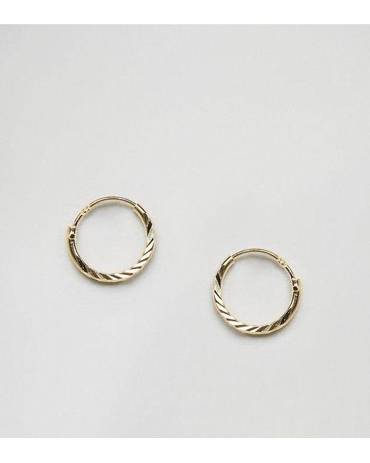 ASOS   Metallic Gold Plated Sterling Silver Faceted Hoop Earrings   Lyst