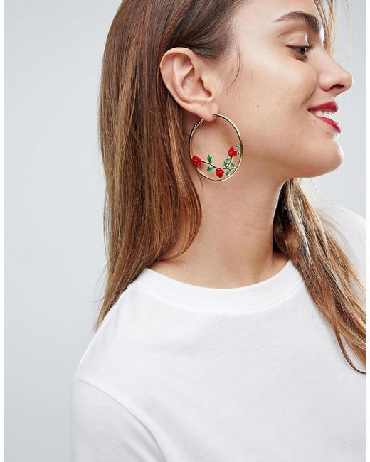ASOS - Metallic Rose Detail Hoop Earrings - Lyst