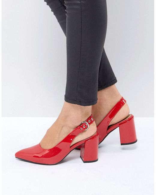 London Rebel - Red High Vamp Sling Back Heel Shoe - Lyst