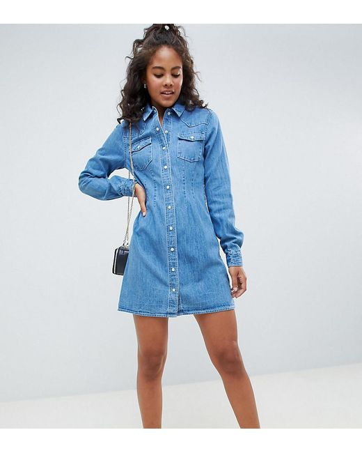 bdfb6165f49 ASOS - Blue Asos Design Tall Denim Fitted Western Shirt Dress With Seam  Detail - Lyst ...