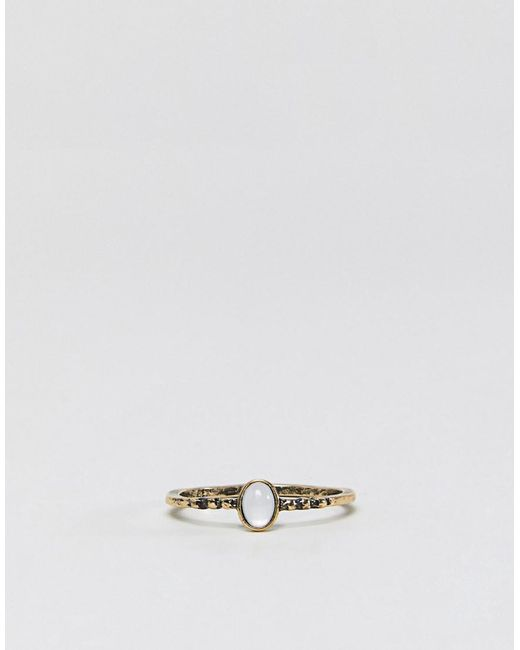 Asos Curve Pack of 2 Hamsa Hand and Pretty Stone Rings - Gold B8LcB
