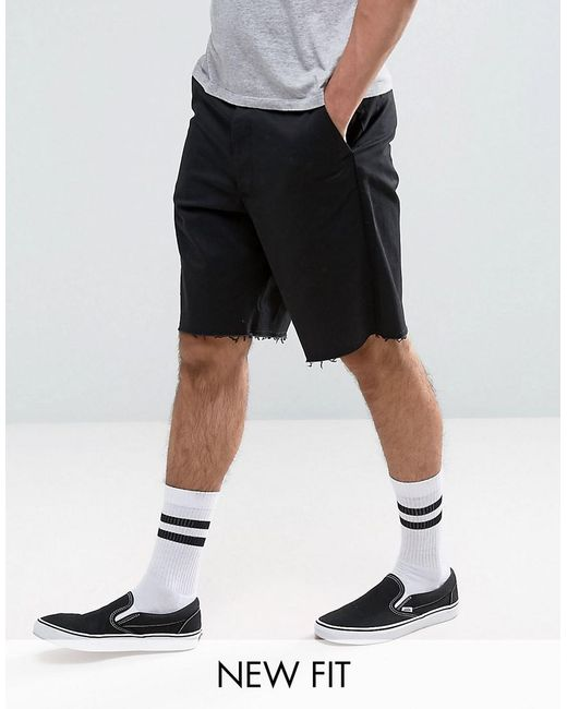 ASOS | Skater Shorts With Raw Edge In Black for Men | Lyst