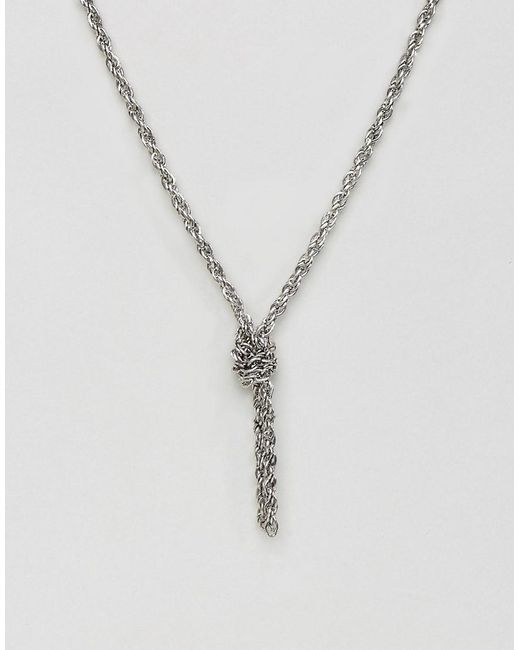 ASOS | Metallic Chain Interest Necklace In Burnished Silver With Knot for Men | Lyst