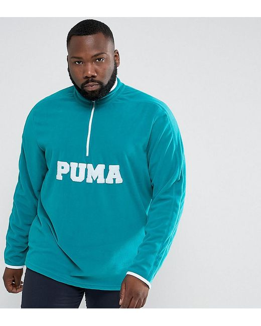 PUMA | Plus Half Zip Borg Fleece In Blue Exclusive To Asos 57658301 for Men | Lyst