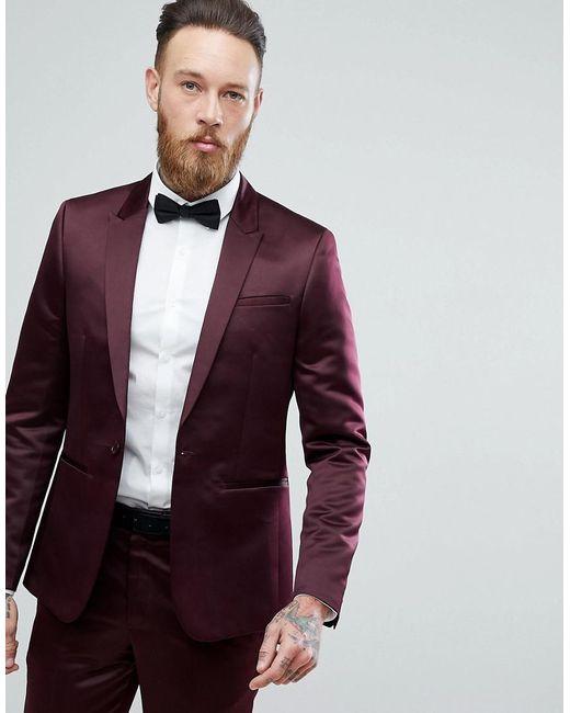Lyst Asos Slim Tuxedo Suit Jacket In Burgundy Sateen In