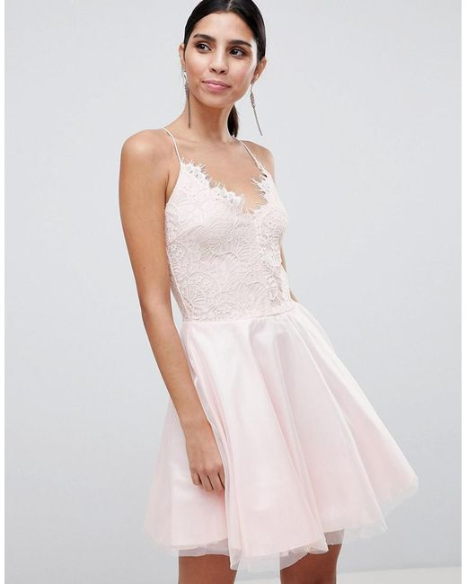 AX Paris - Pink Strappy Lace Dress - Lyst