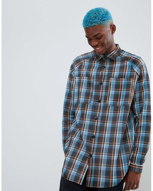 6ccc40558135 ASOS - Blue Oversized Check Shirt With Distressing for Men - Lyst ...