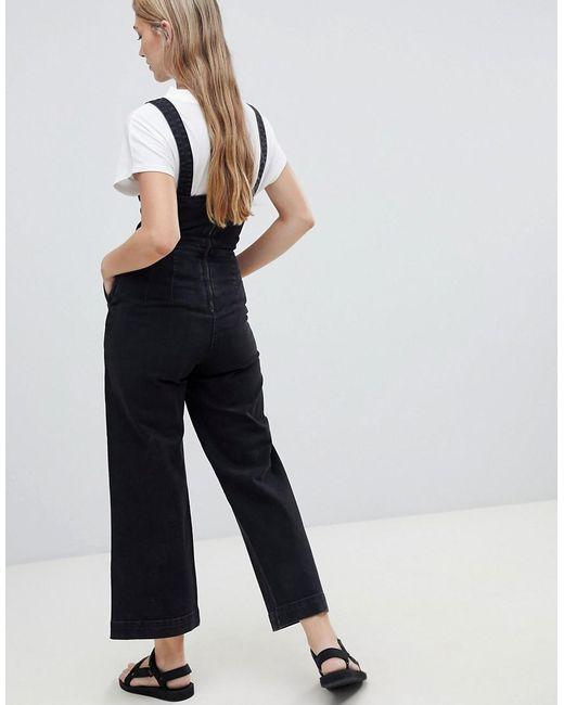 0072d5959ff8 ... Weekday - Black Wide Leg Denim Jumpsuit - Lyst