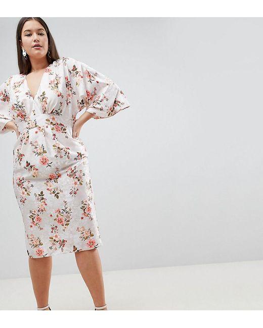 11b4291501 ASOS - Pink Asos Design Curve Kimono Midi Dress In Printed Floral Jacquard  - Lyst ...