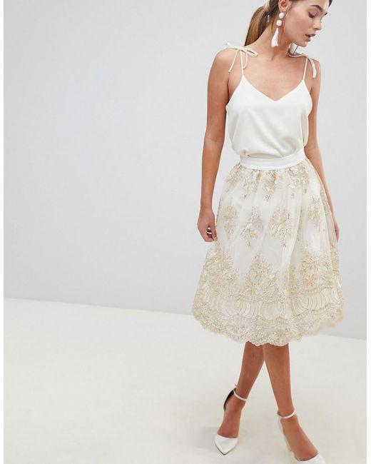 Chi Chi London - Multicolor Midi Skirt In Premium Lace - Lyst