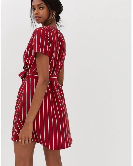 d678f2e86c0f ... Vila - Red Stripe Faux Wrap Dress - Lyst