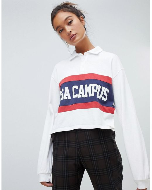 Pull&Bear - Usa Campus In White - Lyst