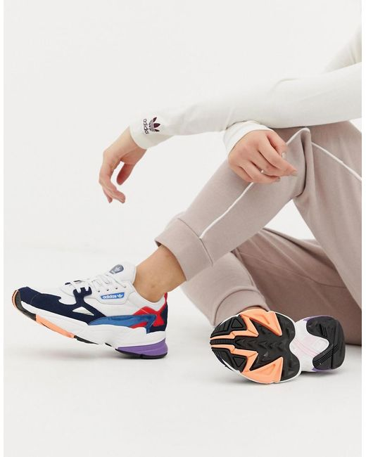 Lyst Adidas Originals White And Navy Falcon Sneakers In White