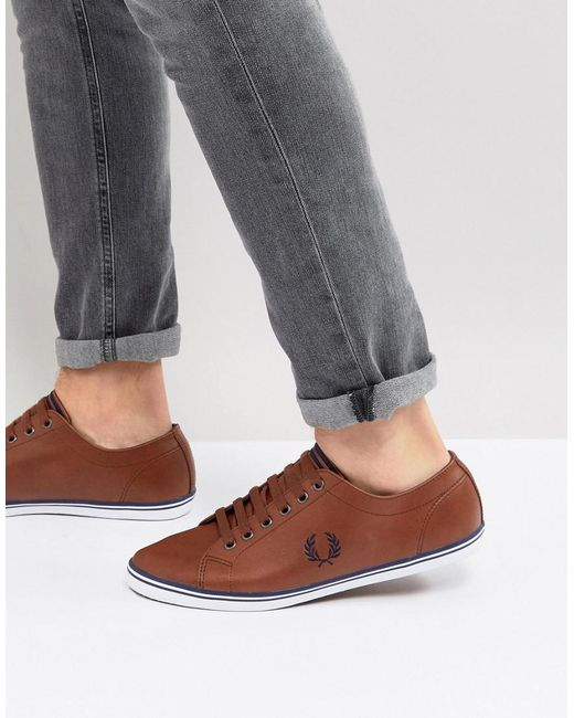 Fred Perry - Brown Kingston Leather Plimsolls In Tan for Men - Lyst