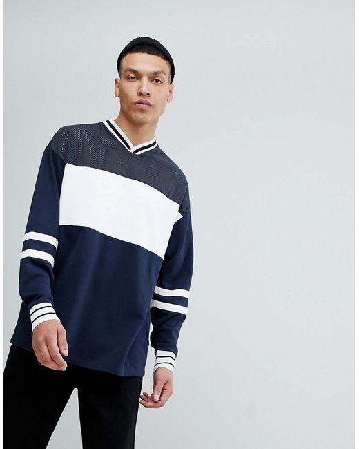 ASOS - Blue Oversized Longline V Neck Sweatshirt With Colour Blocking for Men - Lyst