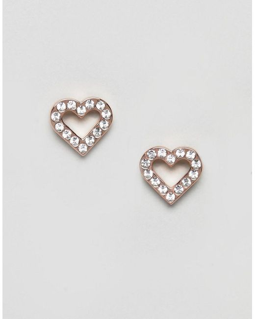 Ted Baker - Metallic Edvienea Enchanted Heart Stud Earrings - Lyst