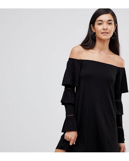 38b17f386b82 ASOS - Black Asos Design Tall Off Shoulder Mini Dress With Frill Sleeve  Detail - Lyst ...