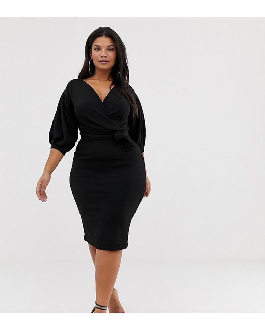 c0a09a0464bf1 Lyst - Boohoo Off The Shoulder Wrap Dress In Black in Black