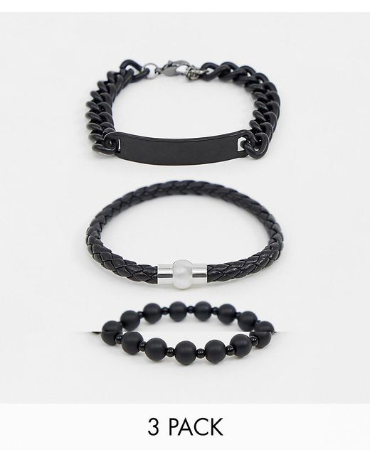 ASOS - Chain And Bead Bracelet Pack In Matte Black for Men - Lyst