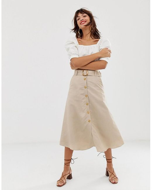 1c5cb3567b970c Other Stories - Natural Linen Button Front Midi Skirt In Light Beige ...