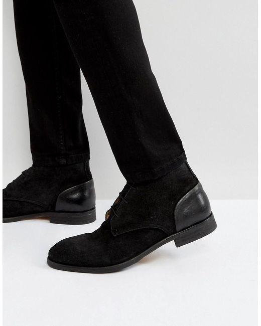 H by Hudson | Ryecroft Suede Desert Boots In Black for Men | Lyst