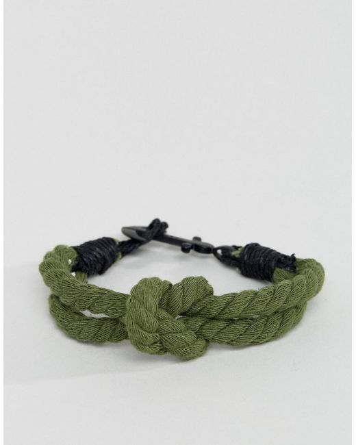 Icon Brand | Plaited Bracelet In Green With Anchor for Men | Lyst