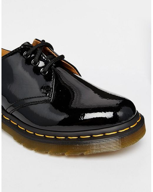 dr martens 1461 classic black patent flat shoes in black