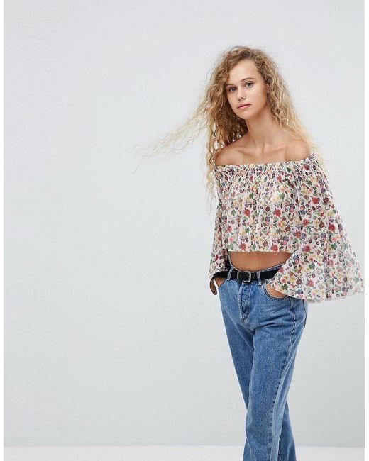 Love | Multicolor Printed Mesh Bardot Top | Lyst