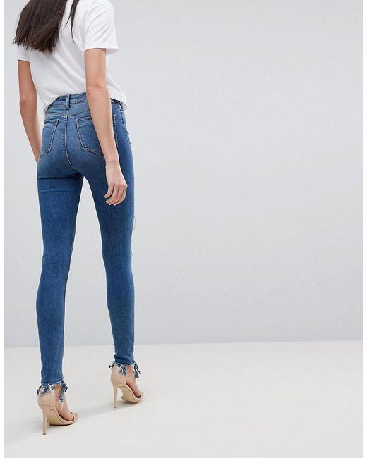 Conception Taille Haute Ridley Jeans Skinny Dans L'extrême Délavage Avec Le Genou Cassé Et Rip Et Détail De Réparation - Lavage Mi Asos Bleu zM5suXE9