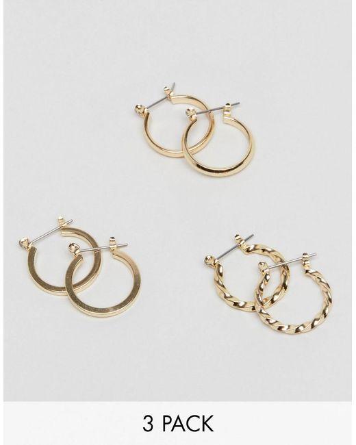 ASOS - Metallic Pack Of 3 20mm Hoop Earrings - Lyst