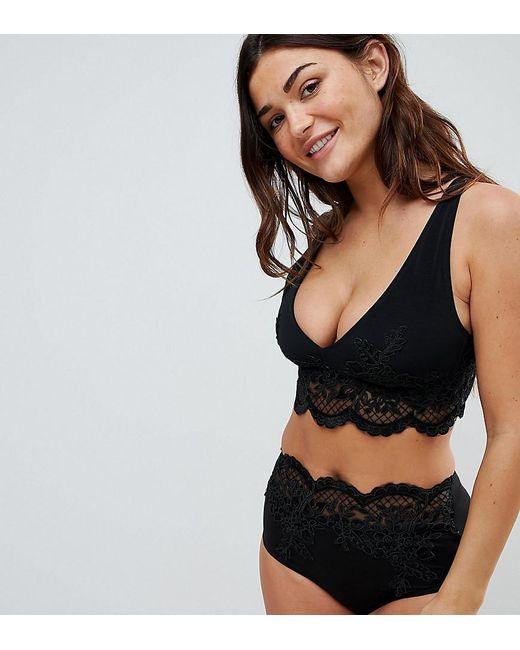 ASOS DESIGN - Black Fuller Bust Exclusive Premium Lace Applique Crop Bikini Top Dd-f - Lyst