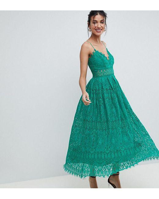 3979d23449 ASOS - Green Lace Cami Midi Prom Dress - Lyst ...