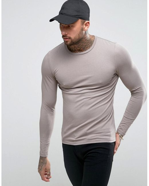ASOS | Brown Muscle Long Sleeve T-shirt In Grey for Men | Lyst