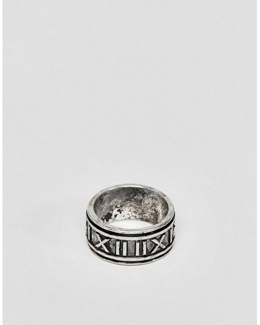 ASOS - Metallic Ring With Roman Numerals In Burnished Silver Tone for Men - Lyst