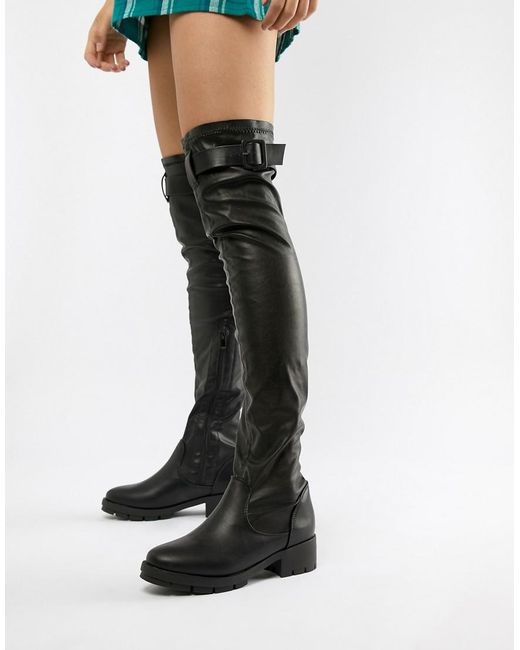 982a50f1318 Truffle Collection - Black Buckle Trim Stretch Over Knee Boots - Lyst ...