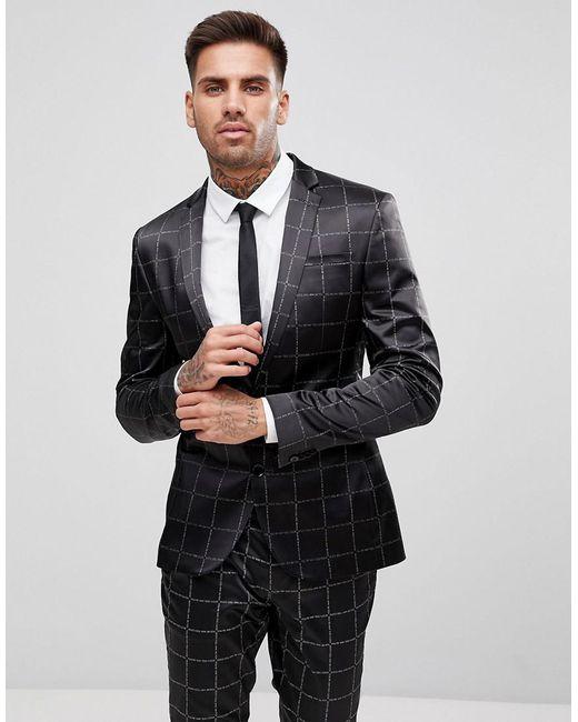 95b111c73ab7 ASOS - Black Asos Super Skinny Suit Jacket In Printed Slogan Check for Men  - Lyst ...