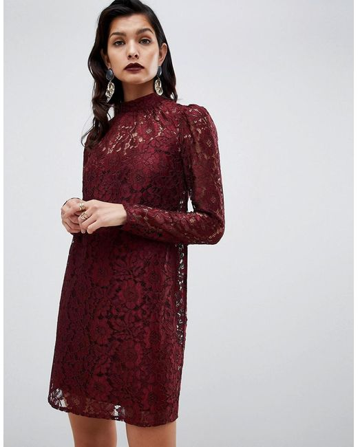 ASOS - Red Lace Shift Mini Dress With Long Sleeves - Lyst