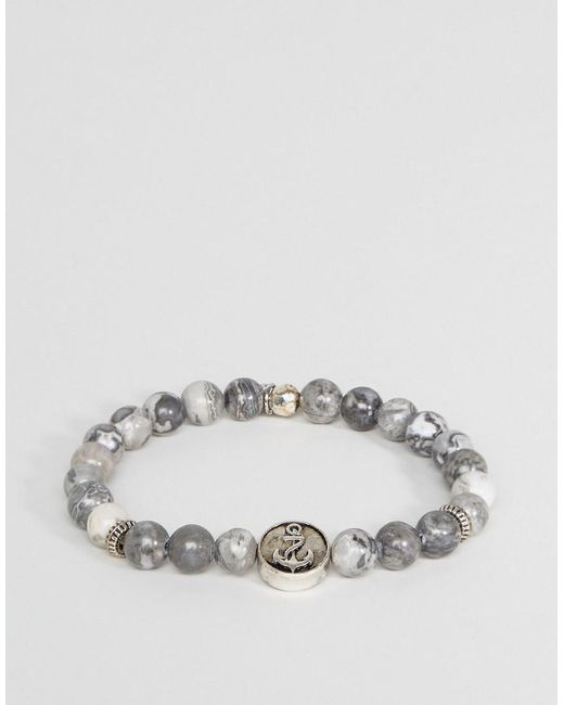 Icon Brand | Gray Anchor Marble Beaded Bracelet In Grey | Lyst